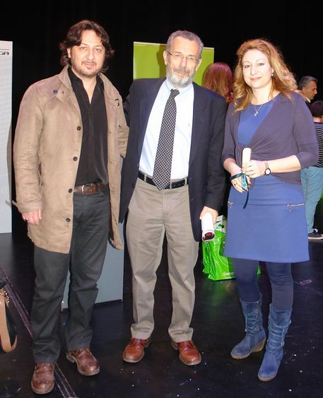 Οι εκπαιδευτικοί Νικόλαος Αλέτρας και Μαρία Σαγρή με τον υφυπουργό Δημόσιας Ραδιοτηλεόρασης Παντελή Καψή