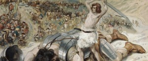 David Cuts off the Head of Goliath by James Tissot, watercolor painting