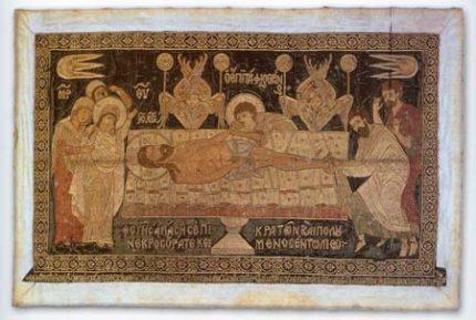 Επιτάφιος (χρυσοκέντητο μεταξωτό ύφασμα) Ι. Μ. Ζερμπίτσας, Ξηροκάμπι Λακωνίας